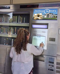 Patron checks out at the Hemet Public Library 24-Hour Library