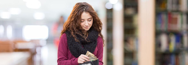 woman with dollar bills